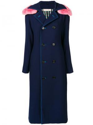 Пальто с контрастным капюшоном Marni. Цвет: синий