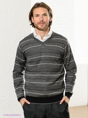 Пуловер GroStyle. Цвет: темно-серый, белый, черный