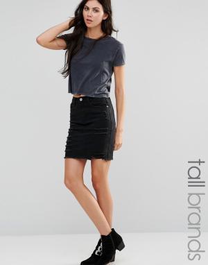 Missguided Tall Рваная джинсовая мини-юбка. Цвет: черный