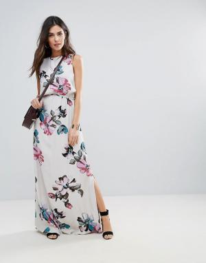 Soaked in Luxury Платье макси с цветочным принтом. Цвет: мульти