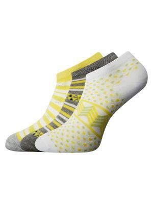 Носки, 3 пары Oodji. Цвет: белый, желтый, серый