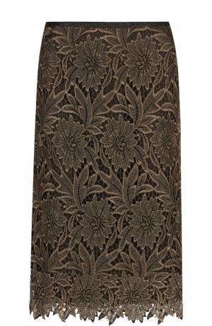 Однотонная кружевная юбка-миди Escada. Цвет: золотой