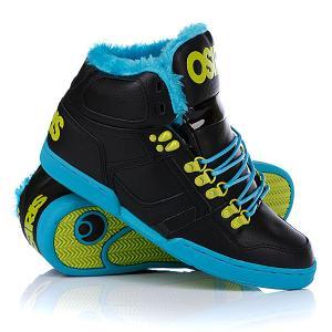 Кеды кроссовки утепленные  Nyc 83 Shr Black/Teal/Lime Osiris. Цвет: черный