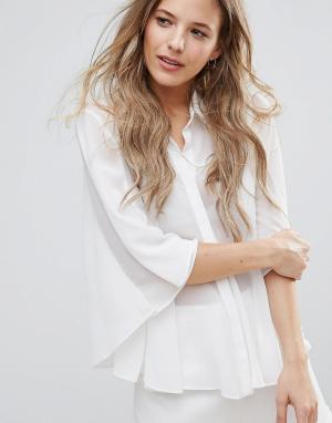 The English Factory Полупрозрачная блузка с контрастным воротником. Цвет: белый
