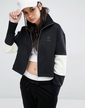 Reebok Черная спортивная куртка с высокой горловиной и логотипом Class. Цвет: черный