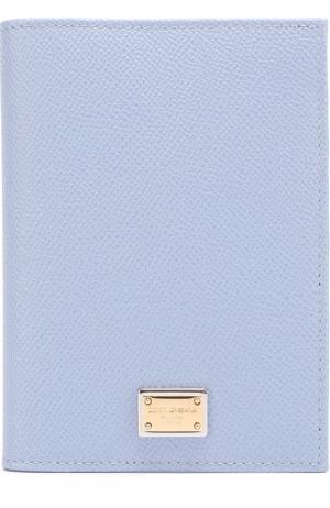 Кожаная обложка для документов Dolce & Gabbana. Цвет: светло-голубой