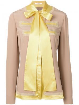 Топ с бантом Givenchy. Цвет: коричневый
