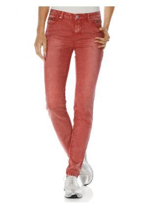 Моделирующие джинсы-дудочки Ashley Brooke. Цвет: коралловый