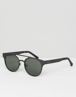 Komono Круглые солнцезащитные очки с двойной переносицей черного цвета. Цвет: черный
