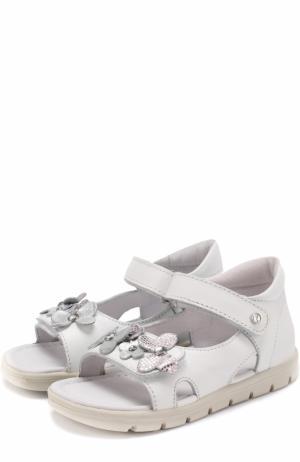 Кожаные сандалии с застежками велькро и аппликациями Falcotto. Цвет: белый
