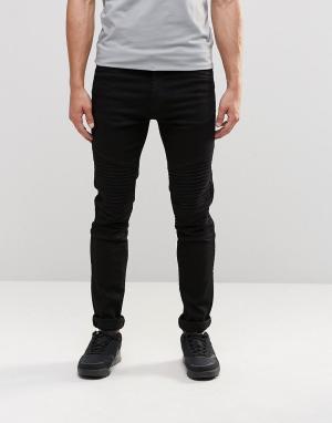 Loyalty & Faith Черные байкерские джинсы. Цвет: черный
