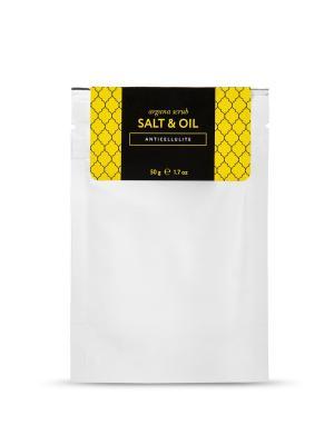 Аргановый скраб солевой антицеллюлит Huilargan. Цвет: белый