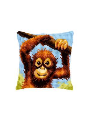 Набор для вышивания лицевой стороны наволочки Малыш-орангутан 40*40см Vervaco. Цвет: голубой, желтый, зеленый, коричневый, оранжевый