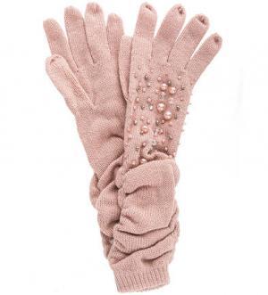 Длинные вязаные перчатки с декором Liu Jo. Цвет: розовый