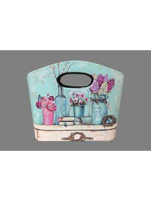 Сумочка интерьерная для хранения Натюрморт с фиалками EL CASA. Цвет: бежевый, розовый, бирюзовый