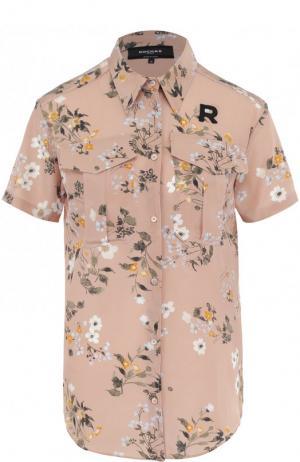 Шелковая блуза с накладными карманами и принтом Rochas. Цвет: розовый