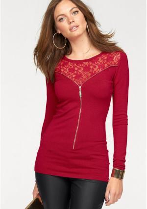 Удлиненный пуловер MELROSE. Цвет: красный, черный