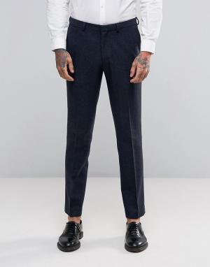 ASOS Темно-синие брюки узкого кроя с узором в елочку. Цвет: темно-синий