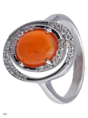 Кольцо Митра Ювелир. Цвет: оранжевый, серебристый