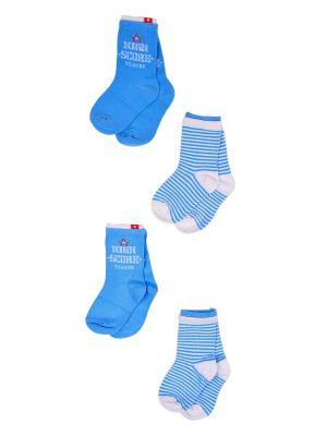 Носки, 4 пары Malerba. Цвет: голубой