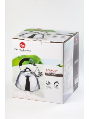 Чайник AQUATIC 3 л со свистком, из нержавеющей стали Carl Schmidt Sohn. Цвет: серебристый