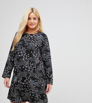 Alice & You Свободное платье с длинными рукавами и цветочным принтом. Цвет: черный