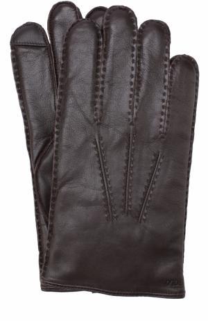 Кожаные перчатки с кашемировой подкладкой Polo Ralph Lauren. Цвет: коричневый