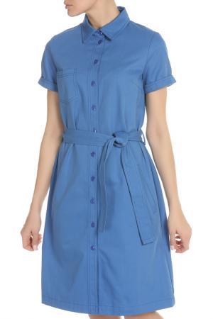 Платье на пуговицах и поясе NATALIA PICARIELLO. Цвет: голубой