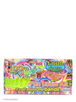 Набор для плетения браслетов из резинок Loom Twister. Цвет: голубой, зеленый, фиолетовый, желтый, красный, розовый, салатовый, черный