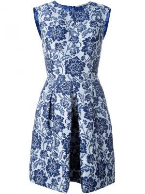Жаккардовое платье-колокол Ermanno Scervino. Цвет: синий