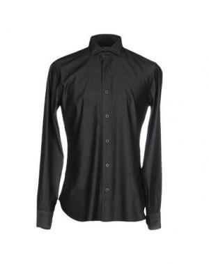 Джинсовая рубашка BARBA Napoli. Цвет: стальной серый