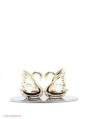 Визитница Два лебедя Юнион. Цвет: прозрачный, золотистый