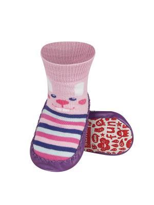 Тапочки-носочки детские SOXO. Цвет: фиолетовый, бледно-розовый, розовый, белый