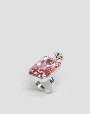 Krystal Кольцо с прямоугольным кристаллом Swarovski от. Цвет: розовый