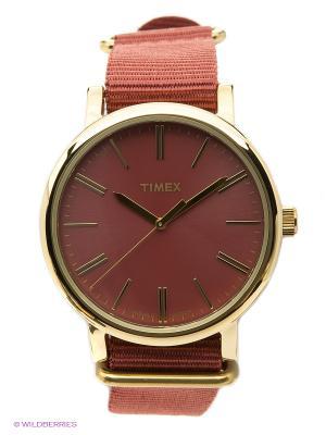 Часы TIMEX. Цвет: бордовый, золотистый