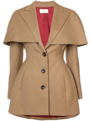 Fitted cape detail blazer Sara Battaglia. Цвет: коричневый