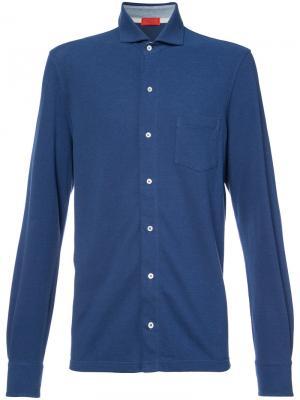 Рубашка с длинными рукавами Isaia. Цвет: синий