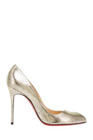 Туфли из металлизированной кожи Corneille 100 Christian Louboutin. Цвет: серебряный