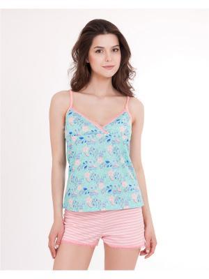 Пижама: топ, шорты Mark Formelle. Цвет: светло-зеленый, белый, розовый