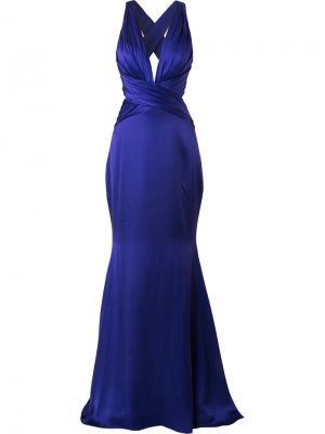 Вечернее платье с глубоким вырезом Romona Keveza. Цвет: розовый и фиолетовый