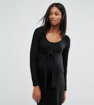 Noppies Maternity Трикотажное платье с узлом спереди для беременных. Цвет: черный
