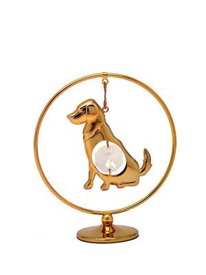Фигурка собака в кольце CRYSTOCRAFT. Цвет: золотистый
