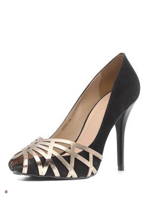 Туфли INDIANA. Цвет: черный, золотистый