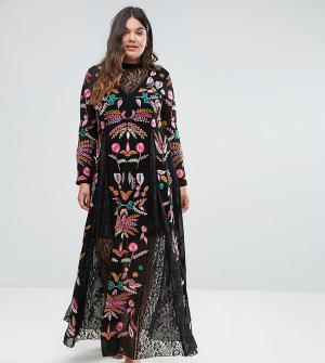 Frock and Frill Plus Платье макси с вышивкой и кружевными вставками. Цвет: черный