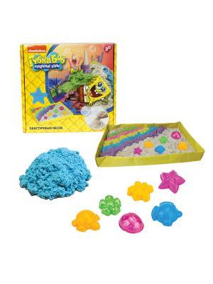 Губка Боб, космический песок, голубой, 1 кг, набор песочница и формочки 1toy песок. Цвет: белый