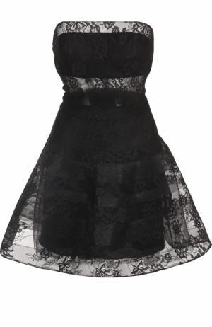 Кружевное платье-бюстье с пышной юбкой Basix Black Label. Цвет: черный