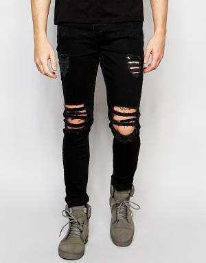 Dark Future Супероблегающие рваные джинсы. Цвет: черный