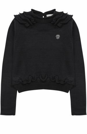 Пуловер джерси с оборками и логотипом бренда из страз I Pinco Pallino. Цвет: синий