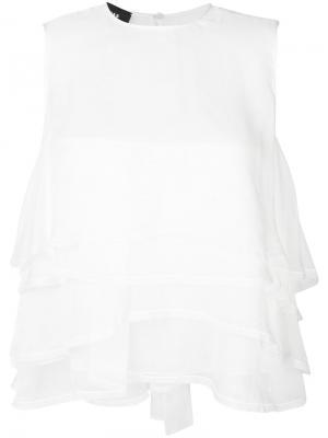Блузка без рукавов с оборками Rochas. Цвет: белый
