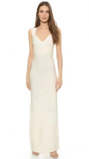 Вечернее платье Estrella без рукавов Herve Leger. Цвет: алебастровый